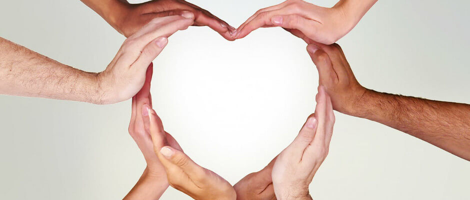 Mutiracial Hands in a Heart Pattern